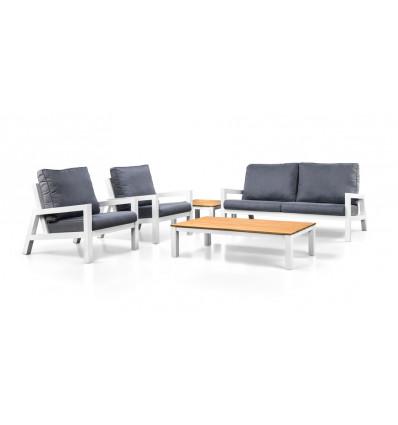 SUNS LAGO loungeset bank + 2 stoelen wit frame+grijze kussens+tafel 140x75cm
