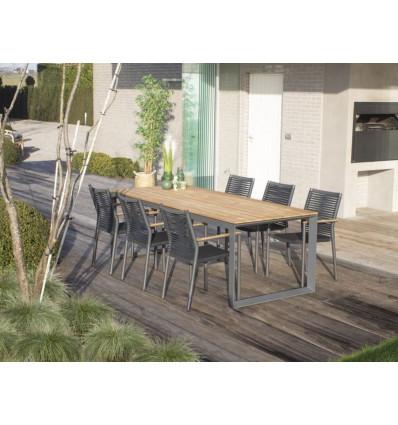 AMORA dining stoel - alu rope teak donkergrijs tuinstoel 10096950