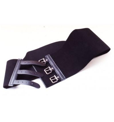 MODRI ceintuur elastisch 3 lederp. 70CM zwart 16x70cm 522a